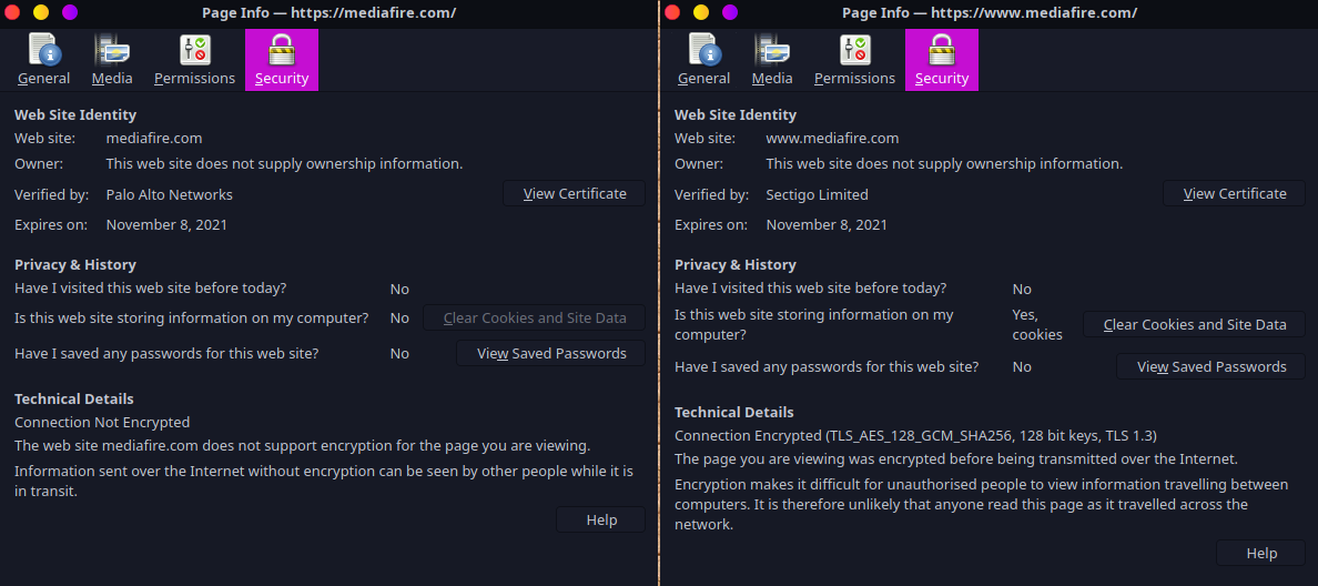 Left: Hijacked connection SSL cert; Right: Encrypted connection and correct SSL certificate